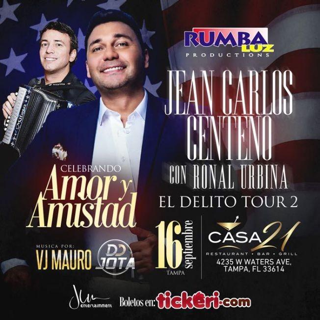 Flyer for Jean Carlos Centeno & Ronal Urbina en Tampa,FL