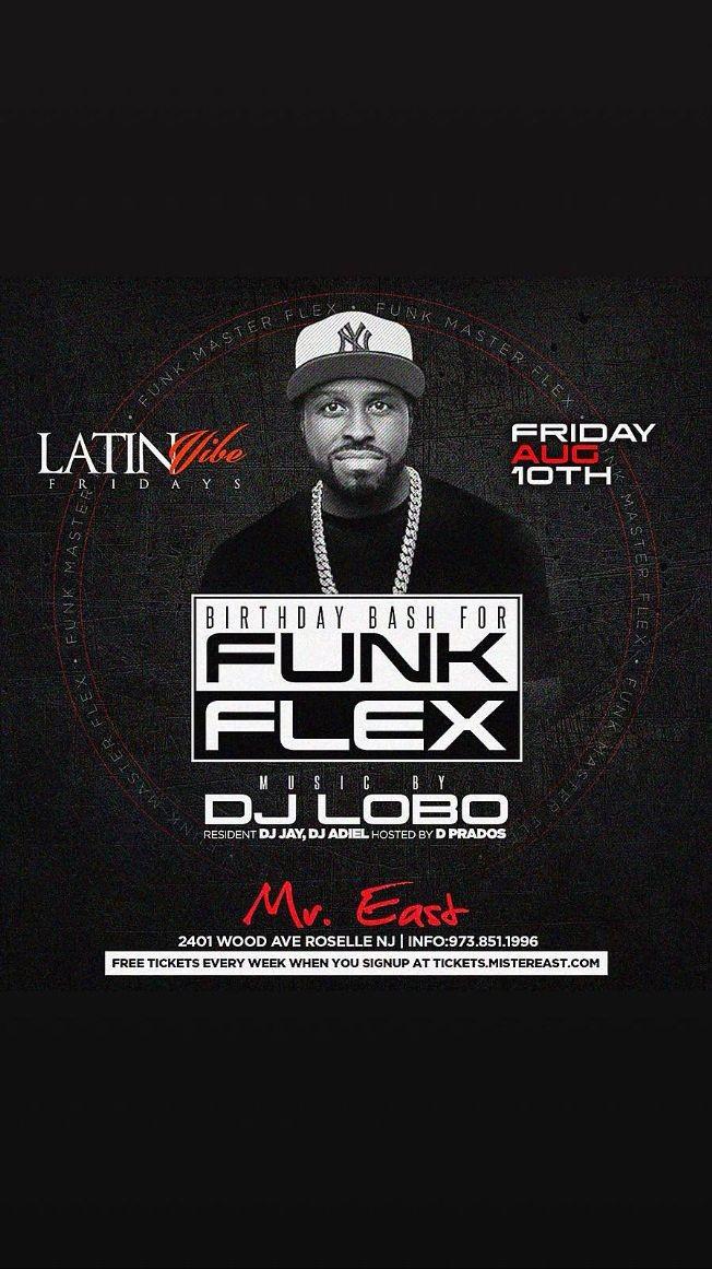 Flyer for Funkflex Birthday Bash At Mister East