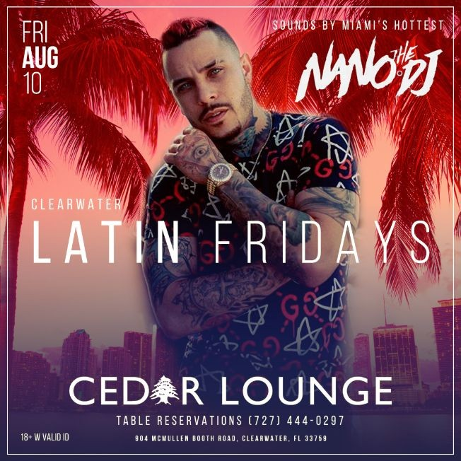 Flyer for CLEARWATER LATIN FRIDAYS WITH NANO THE DJ