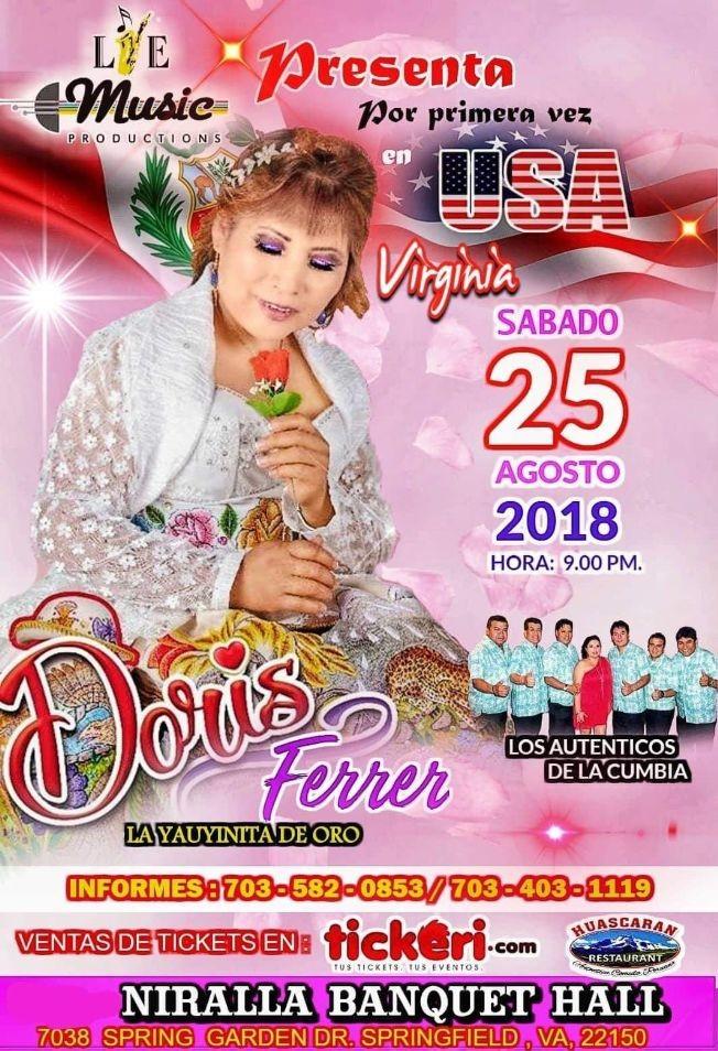 "Flyer for Doris Ferrer ""La Yauyinita de Oro"" en Springfield,VA"