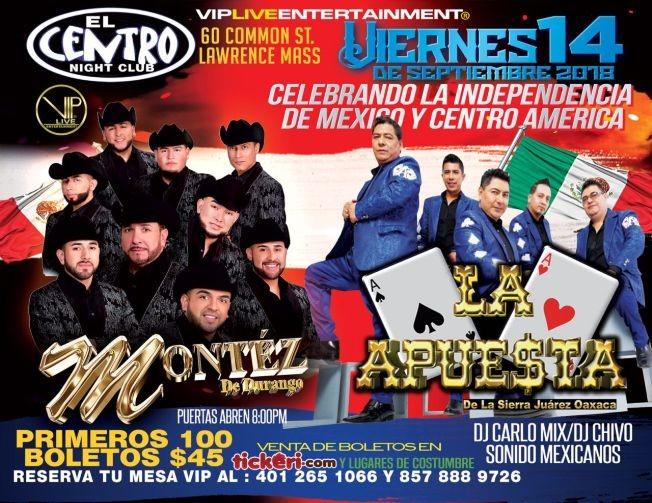 Flyer for Montez De Durango & La Apuesta En Lawrence MA.