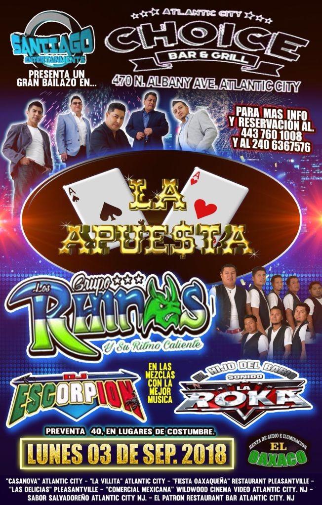 Flyer for La Apuesta & Grupo Los Rhinos y Su Ritmo Caliente en Atlantic,NJ