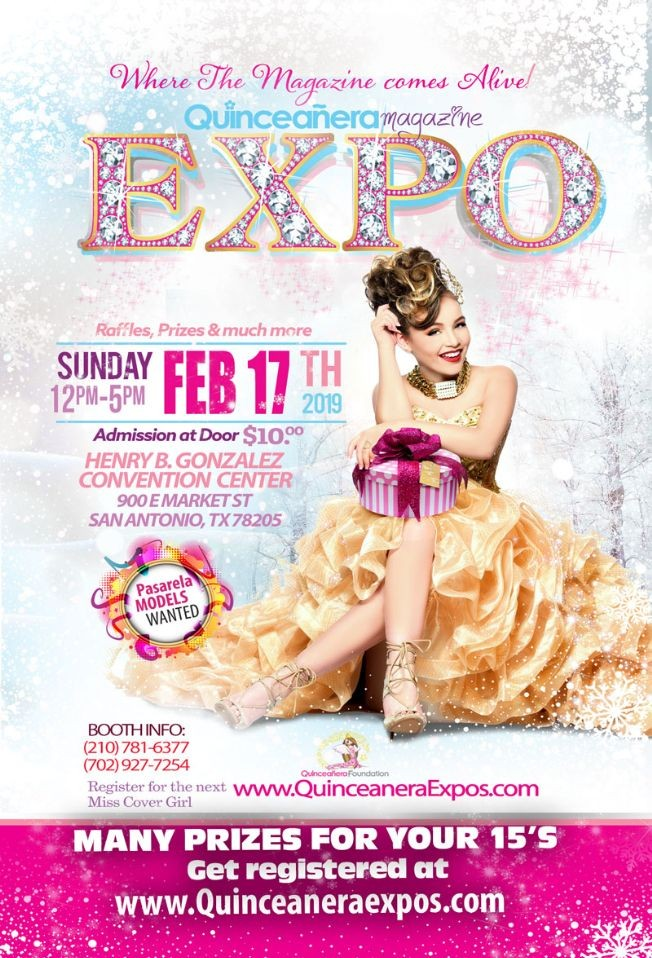 Flyer for San Antonio Quinceanera Expo February 17th 2019 At the Freeman Coliseum Hall