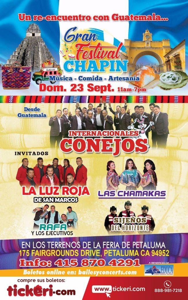 Flyer for Gran Festival Chapin con Int. Conejos, La Luz Roja, Las Chamakas & Mas en Petaluma,CA