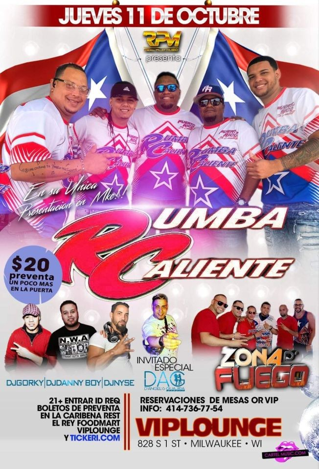 Flyer for RUMBA CALIENTE LLEGA A MILWAUKEE WISCONSIN