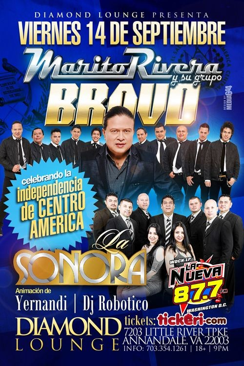 Flyer for Marito Rivera & La Sonora en Annadale,VA