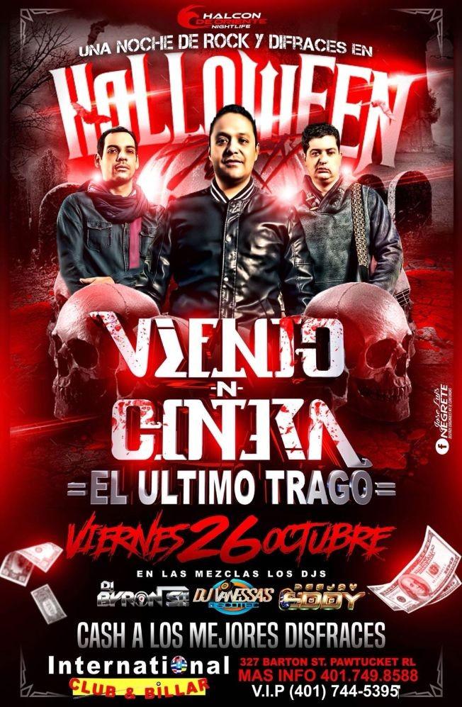 Flyer for Fiesta de Halloween con Viento N  Contra en Pawtucket,RI