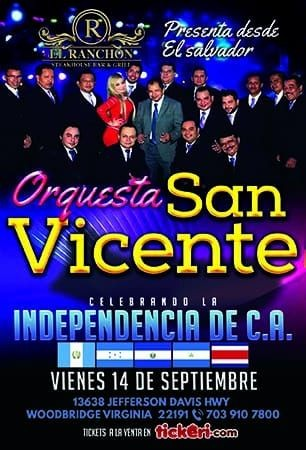 Flyer for Orquesta San Vicente En Woodbridge,VA