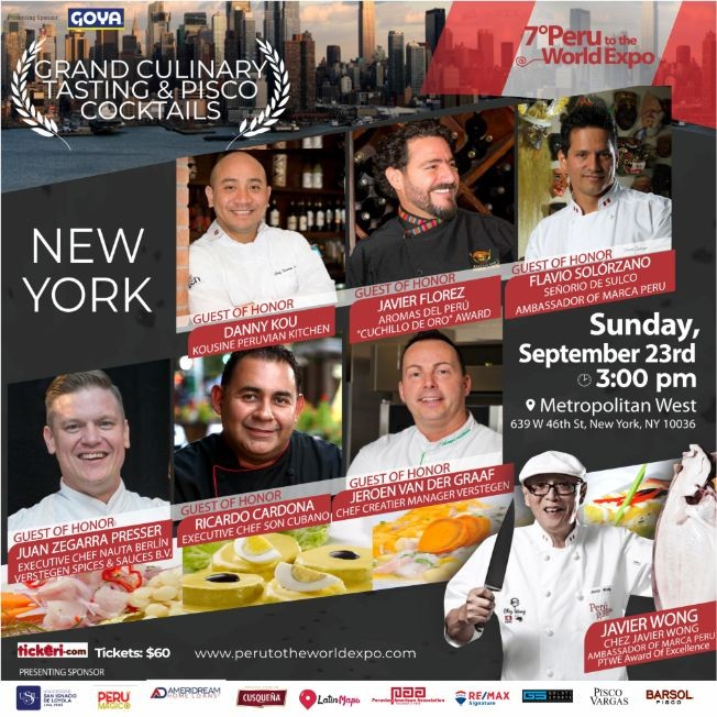 Flyer for 7th Peru To The World Expo, Grand Tasting & Pisco Cocktail