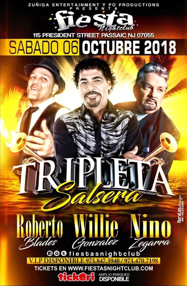 Flyer for Tripleta Salsera con Roberto Blades, Willie Gonzalez & Nino Zegarra En Passaic,NJ