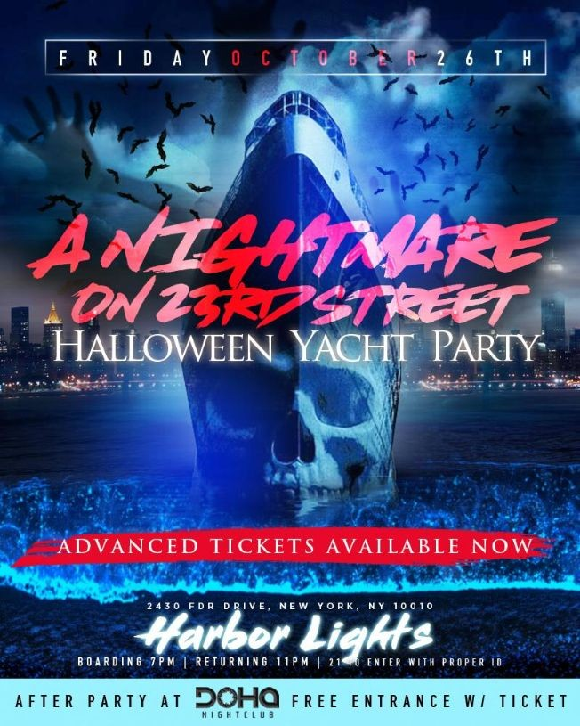 Flyer for A Nightmare On 23rd Street Halloween Yacht Party At Harbor Lights