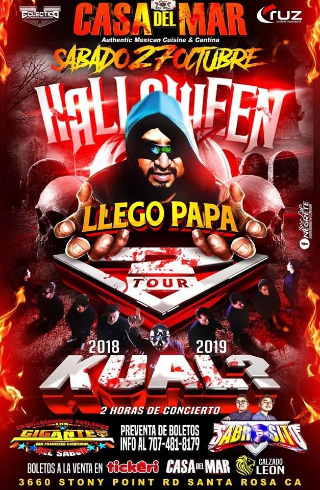 Flyer for Fiesta de Halloween con Kual? en Santa Rosa CA