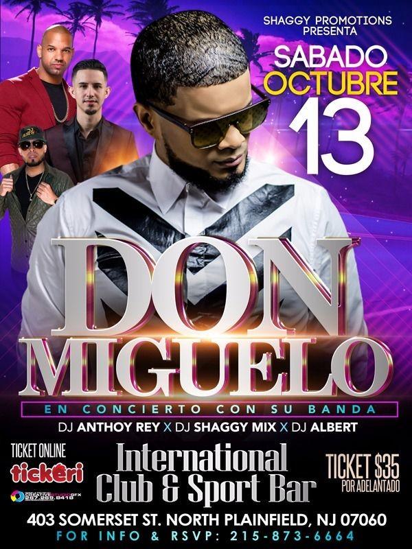 Flyer for Don Miguelo en Conciert Con Su Banda en North Plainfield,NJ