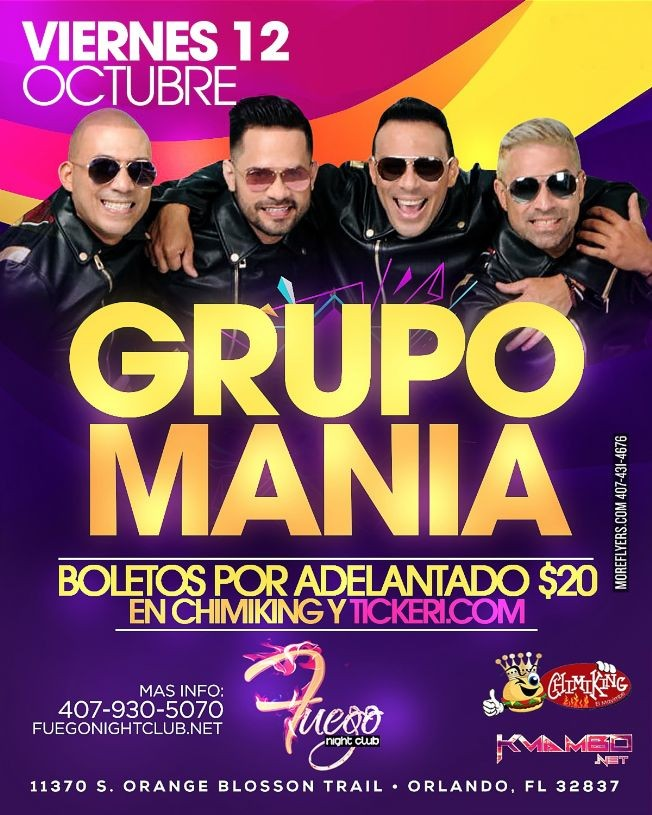 Flyer for Grupo Mania