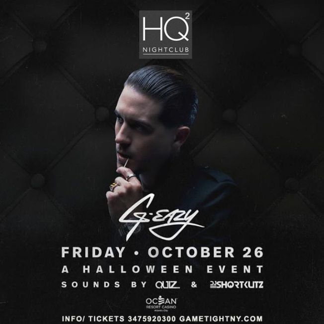 Flyer for G-Eazy Halloween 2018 party at Ocean Resort Casino HQ2 Nightclub