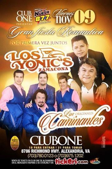 Flyer for Los Yonic's Zamacoma Y Los Originales Caminantes En Alexandria,VA