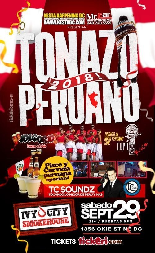 Flyer for El Tonazo Peruano 2018 en Washington DC
