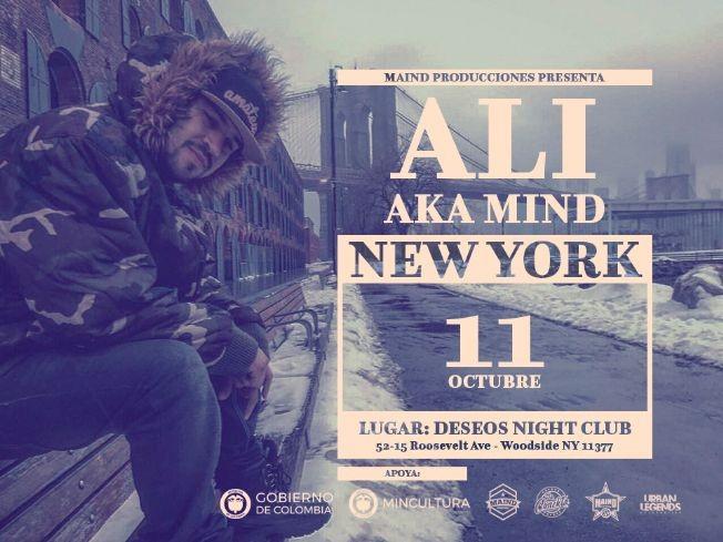 Flyer for ALI AKA MIND en New York 2018
