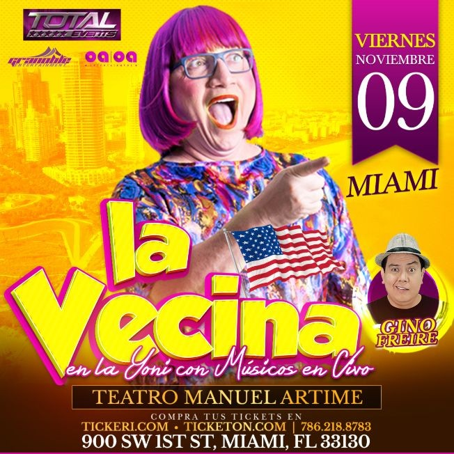 Flyer for LA VECINA SIN CENSURA EN MIAMI GIRA 2018