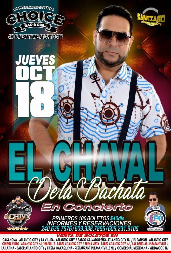 Flyer for El Chaval de La Bachata en Atlantic City,NJ
