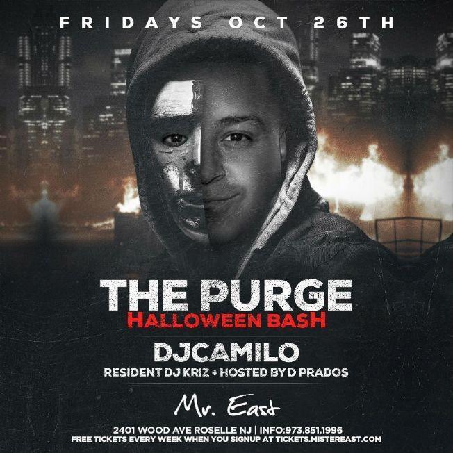 Flyer for The Purge Halloween Bash DJ Camilo Live At Mister East