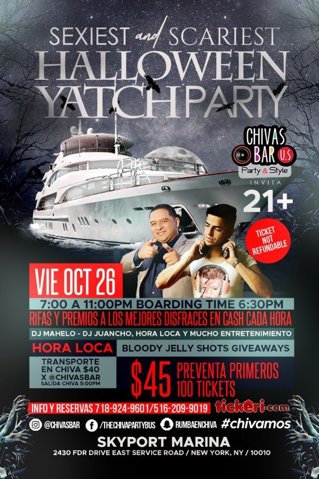 Flyer for Sexiest and scariest Halloween yatch party!