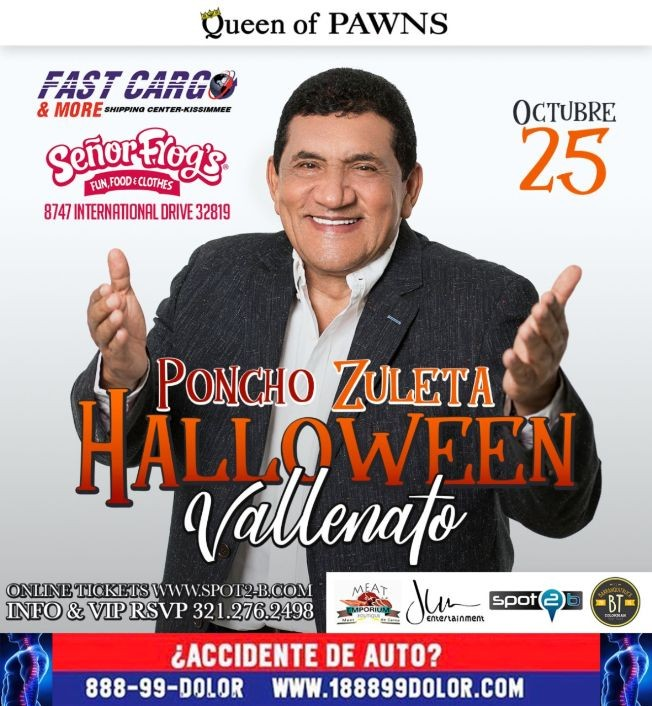 Flyer for Esta noche Poncho Zuleta en Senor Frogs Orlando