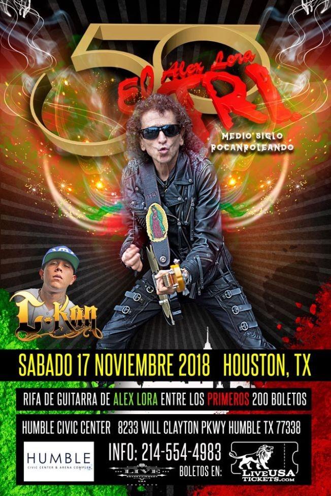 """Flyer for El Tri """"50 Aniversario"""" en Houston,TX"""