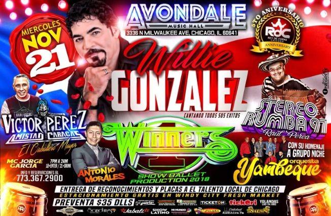Flyer for 5to Aniversario RdC   Willie Gonzalez   Winners   Victor Perez   Stereo Rumba 97
