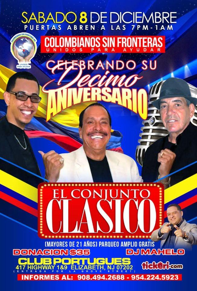 Flyer for Conjunto Clasico y  Colombianos Sin Fronteras