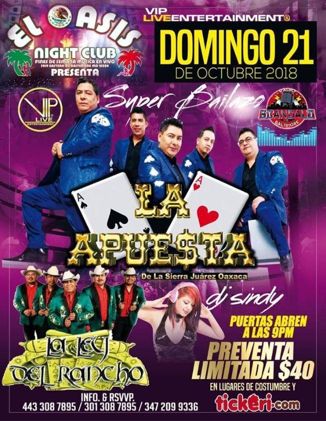 Flyer for La Apuesta Y La Ley Del Rancho En Baltimore MD