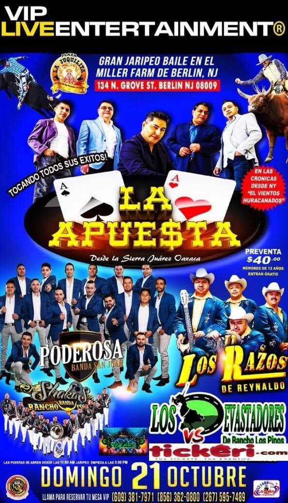Flyer for Gran Jaripeo Baile-La Apuesta, Los Razos, Poderosa Banda San Juan En Berlin NJ