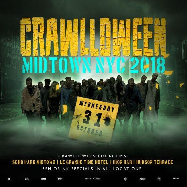 Flyer for Crawlloween Midtown NYC 2018