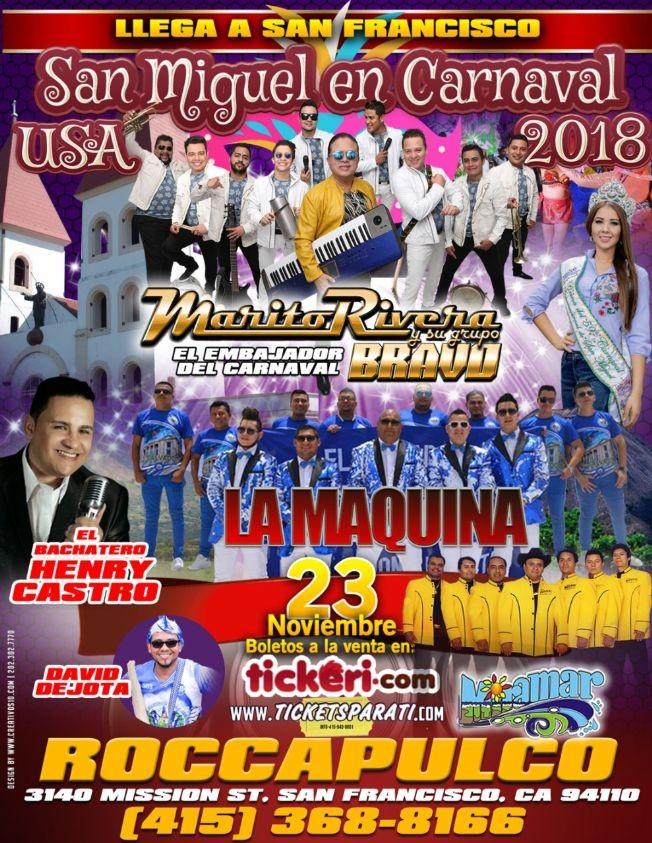 Flyer for San Miguel en Carnaval USA 2018