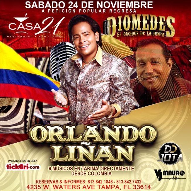 Flyer for Orlando Liñan Homenaje a Diomedes El Cacique de La Junta en Tampa,FL