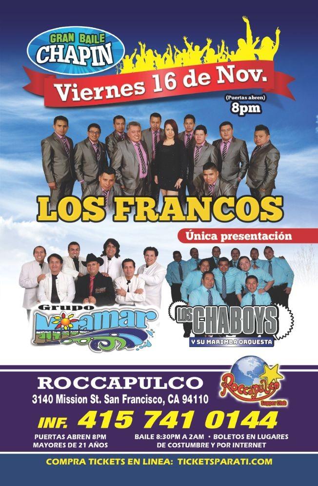 Flyer for Los Francos, Grupo Miramar & Los Chaboys en San Francisco,CA