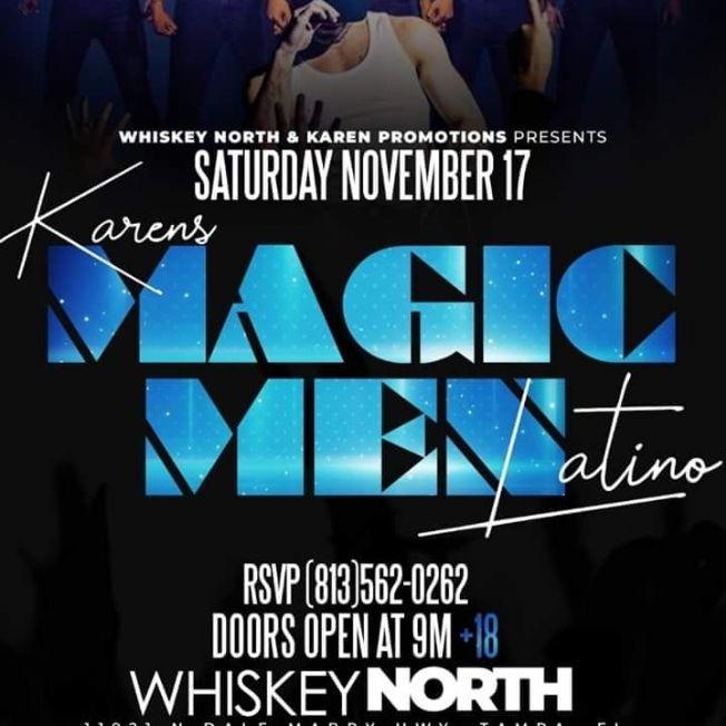 Flyer for Karen's Magic Men Latino CANCELED