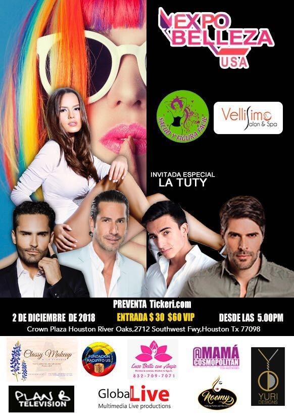 Flyer for Expo Belleza USA-Una Noche En El Paraiso en Houston,TX