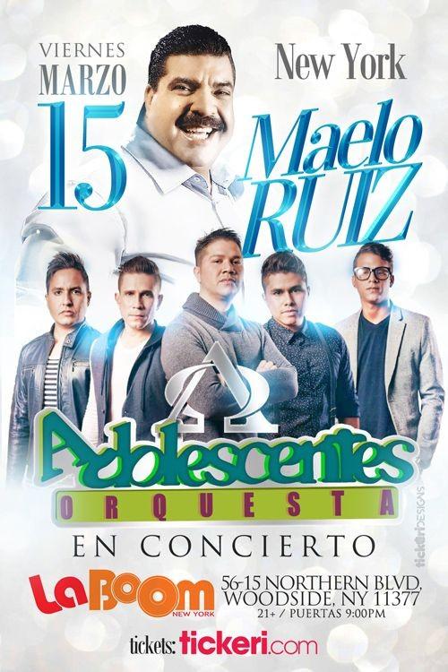 Flyer for MAELO RUIZ Y ORQUESTA ADOLESCENTES EN NEW YORK