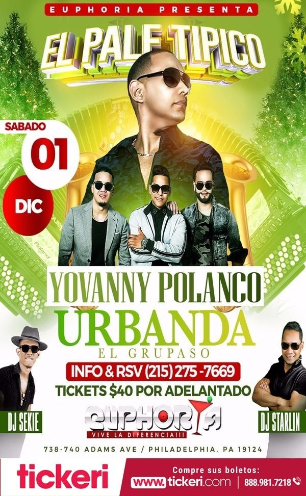Flyer for YOVANNY POLANCO, URBANDA EL GRUPASO EN PHILADELPHIA,PA