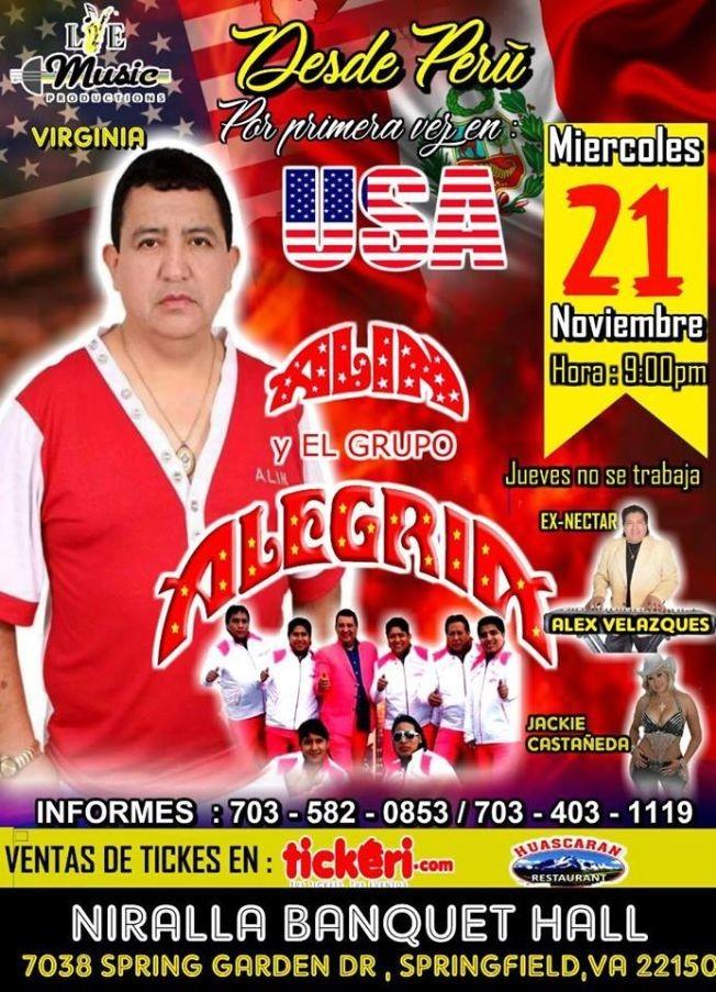 Flyer for ALIN Y EL GRUPO ALEGRIA EN SPRINGFIELD,VA