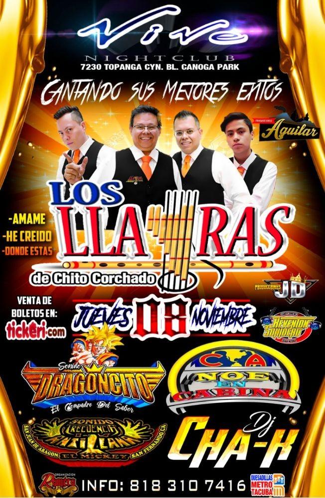 Flyer for LOS LLAYRAS DE CHITO CORCHADO EN CANOGA PARK, CA