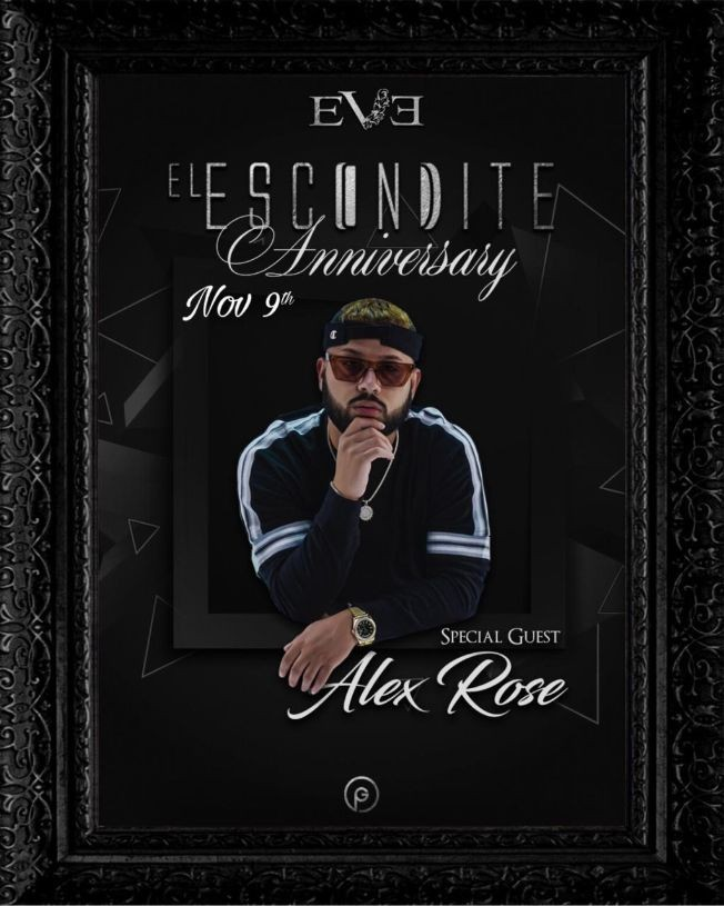 Flyer for Alex Rose '' El Escondite Anniversary''