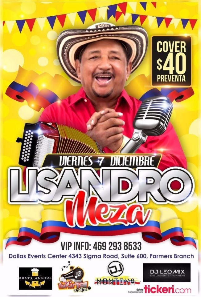 Flyer for LISANDRO MEZA EN CONCIERTO EN FARMER BRANCH, TX