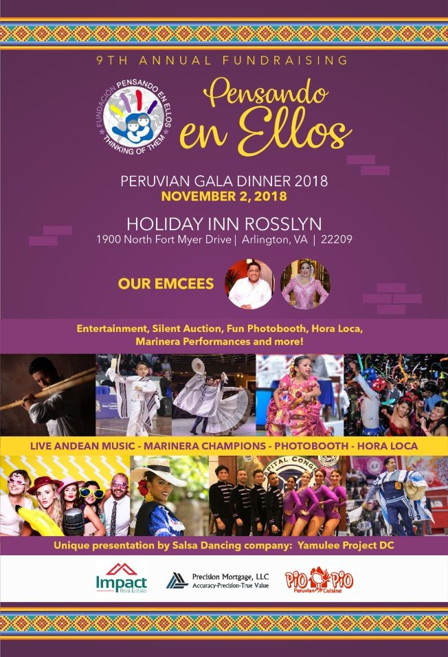 Flyer for Pensando en Ellos Peruvian Gala Dinner