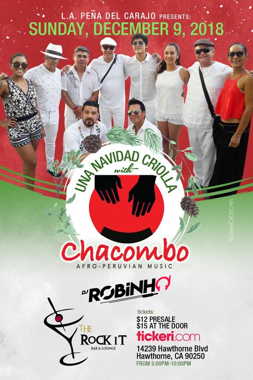 Flyer for L.A. PEÑA DEL CARAJO presents: Una Navidad Criolla with Chacombo