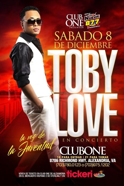 Flyer for TOBY LOVE EN CONCIERTO ALEXANDRIA,VA