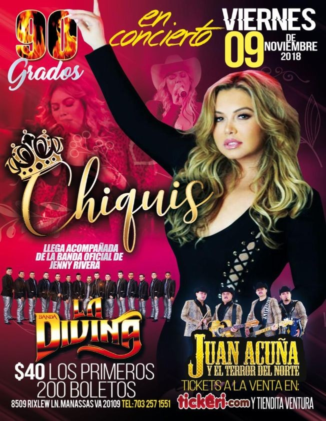 Flyer for Chiquis Rivera & La Divina en Manassas,VA
