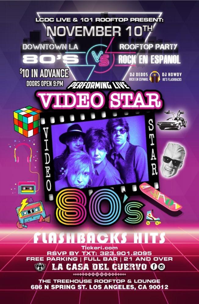 Flyer for DTLA ROOFTOP PARTY 80'S VS ROCK EN ESPANOL. DJS & LIVE BAND PERFORMANCE