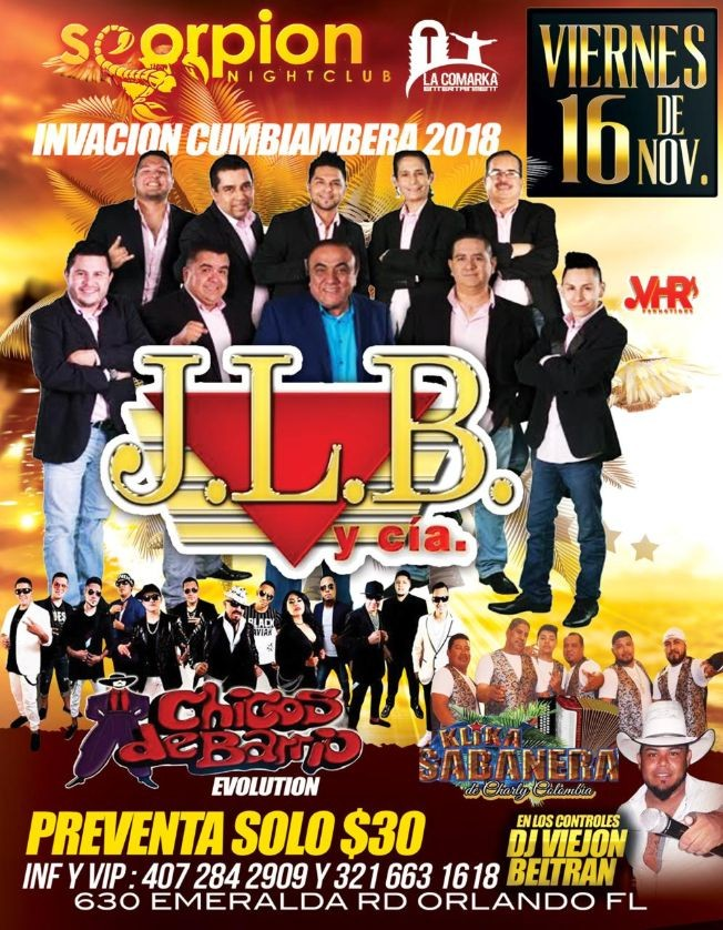 Flyer for J.L.B y Cia & Chicos de Barrio en Orlando,FL